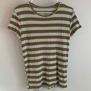 Volcun green and blue striped T-shirt